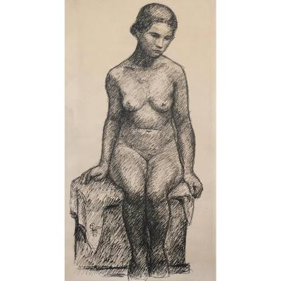 "Gimond Marcel (1894-1961) ""naked Woman"" Drawing / Pen, Signed With Monogram"