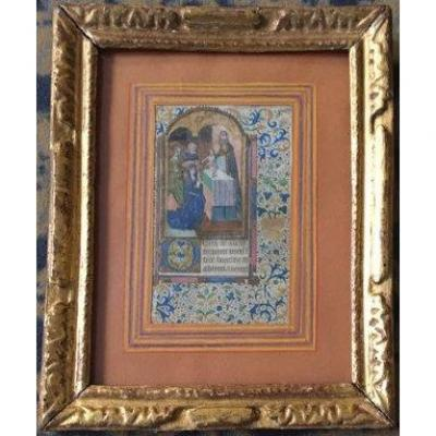 "French School Late 15th ""religious Subject"" Illumination/gouache & Golden Paint, Book Of Hours"