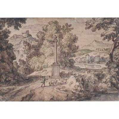 "Millet Francisque (1642-1679) Attributed To""landscape & Shepherd"" Drawing/pen,wash & Watercolor"