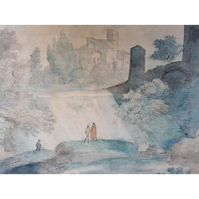 "English School Late 18th ""animated Landscape"" Drawing/pen And Watercolor"