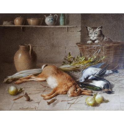 "CRUICKSHANK William (1848-1922) ""Nature morte et chat"" Aquarelle sur papier ivoire, signée"