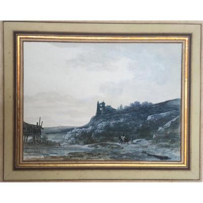 """MOREAU Louis Gabriel (1740-1806) """"Paysage animé"""" Aquarelle et gouache"""