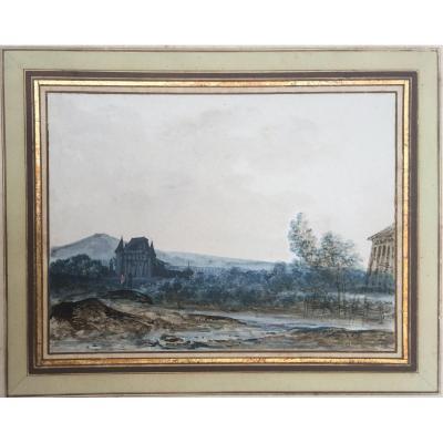 """MOREAU Louis Gabriel (1740-1806) """"Paysage au château"""" Aquarelle et gouache"""