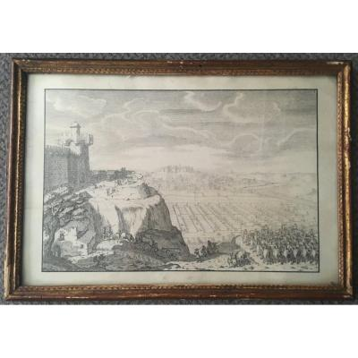 "French School 17th ""castle And Cavalry"" A Pair Of Drawings/pen And Ink"