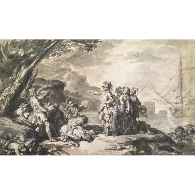 "Loutherbourg Philippe-jacques De (1740-1812) ""the Discovery Of America"" Drawing / Pen, Wash"