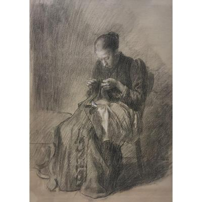 "Brunier Joseph (1860-1929) ""woman Sewing"" Drawing/black Pencil, Signed On The Back"