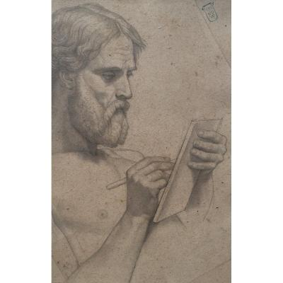 "Orsel Victor (1795-1850) ""man Writing"" Drawing / Black Pencil, Signed With Stamp"