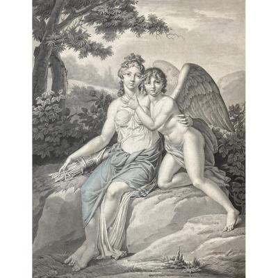 """Cazenave J.frédéric (born In 1770) """"venus And A Cherub"""" Drawing/pen,gray Wash,watercolor,signed"""
