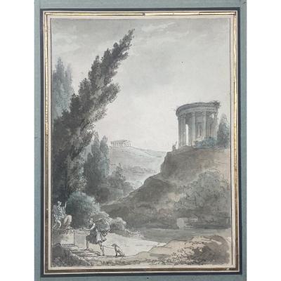 "Thomas Jean-françois Known As Thomas De Thomon (1760-1813) ""landscape In The Antique"" Drawing"