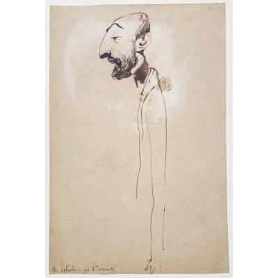 """VERNET Horace (1789-1863) """"Portrait charge d'Hector-Martin LEFUEL"""" Dessin/Plume, annoté"""