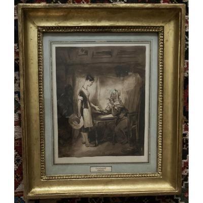 """TASSAERT Octave (1800-1874) """"La diseuse de bonne aventure"""" Dessin/Lavis brun, Signé, Cadre 19e"""