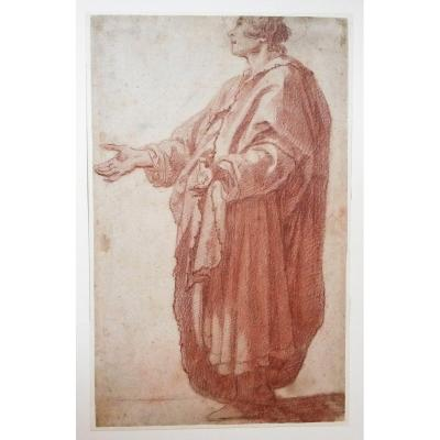 "Rosselli Matteo Attributed To (1578-1650) ""draped Standing Man"" Drawing/red Chalk"