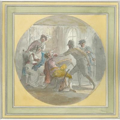 "William HAMILTON (1751-1801) ""Meurtre de David Rizzio"" Plume et Aquarelle"
