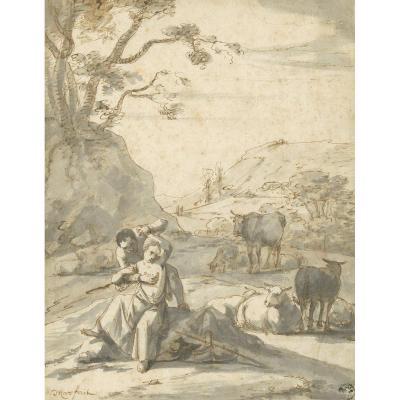 """ROOS Johann Heinrich (1631-1685) """"Scène grivoise"""" Dessin/Plume, Lavis, Signé, Josef Grünling"""