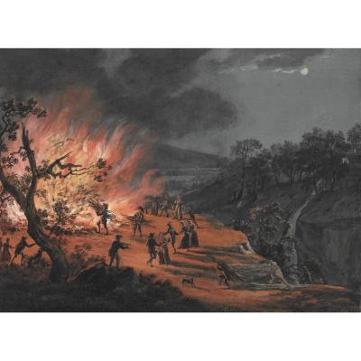 "Linck Jean Antoine (1766-1841) ""feast Of Saint John"" Gouache, Swiss School"
