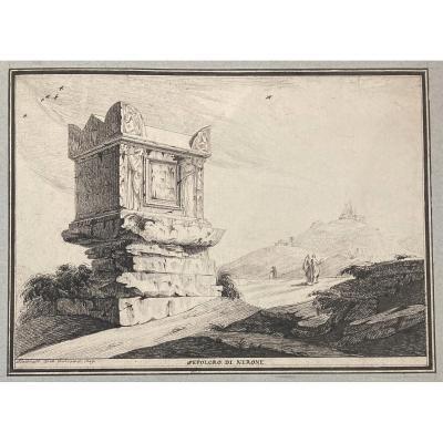 """BELLICARD Jérôme-Charles (1726-1786) """"Tombeau de Néron"""" Dessin/Plume, signé et daté"""