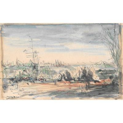 """ZIEM Félix (1821-1911) """"Paysage marin"""" Dessin/Plume et aquarelle, signé"""