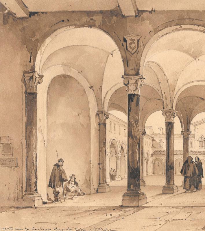 """VIANELLI Achille (1803-1894) """"Cloître à Ferrare"""" Dessin/Crayon,Plume, Signé, Provenance, Tasso-photo-2"""