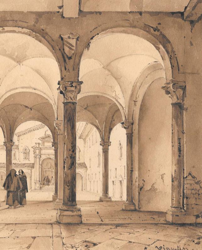 """VIANELLI Achille (1803-1894) """"Cloître à Ferrare"""" Dessin/Crayon,Plume, Signé, Provenance, Tasso-photo-3"""