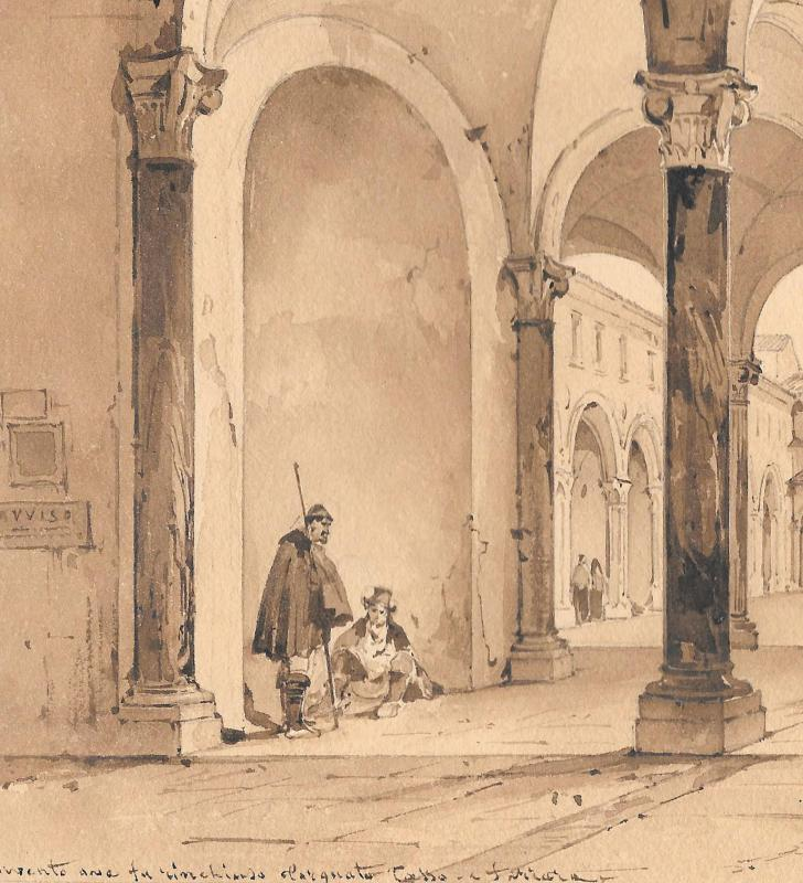 """VIANELLI Achille (1803-1894) """"Cloître à Ferrare"""" Dessin/Crayon,Plume, Signé, Provenance, Tasso-photo-4"""