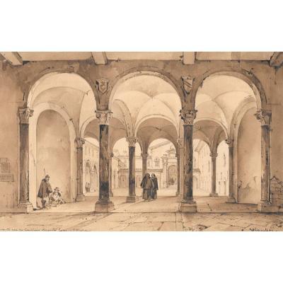 """VIANELLI Achille (1803-1894) """"Cloître à Ferrare"""" Dessin/Crayon,Plume, Signé, Provenance, Tasso"""