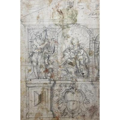 "Italian School Late 17th ""virgin And Child And St John The Baptist"" Drawing / Black Chalk"