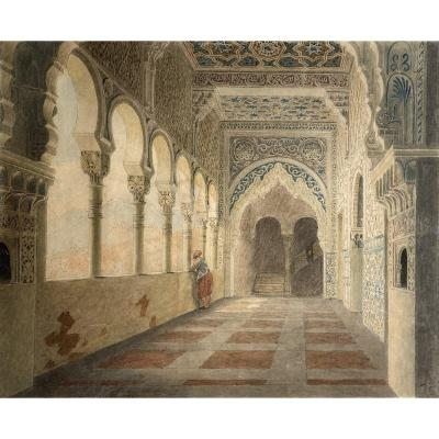 "Vauzelle Jean-lubin (1776-1839) ""interior Of An Oriental Palace"" Drawing / Ink, Watercolor, Signed"