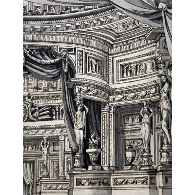 "Italian School Late 18th ""decoration Project"" Drawing/pen And Gray Wash"