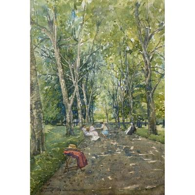 "Vaudremer Emile (1829-1914) ""marlioz, Plane Trees Alley"" Watercolor, Signed, Dated And Located"