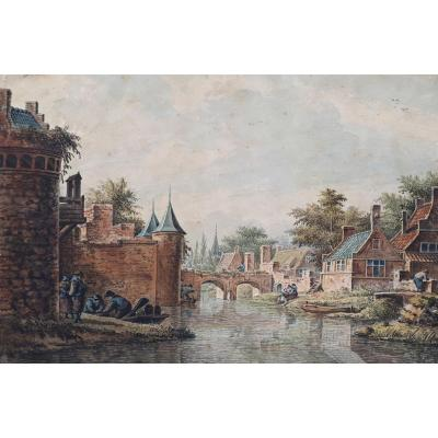 """VERRYK Dirk (1734-1786) Ecole Hollandaise """"Personnages au bord d'une rivière"""" Aquarelle"""