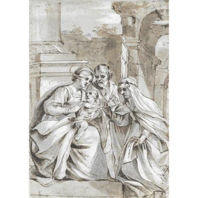 "Italian School Early 17th ""the Holy Family"" Drawing/pen, Gray Wash, W. Esdaile Collection"