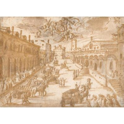 "Flemish School Circa 1600 ""festive Scene"" Drawing/pen And Brown Wash"