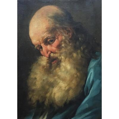 """HallÉ Noël (1711-1781) Attributed To """"beared Man, Head Down""""oil/paper Mounted On Canvas, Frame"""