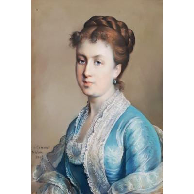 """JANMOT Louis (1814-1892)""""Cécile de Pessonneaux du Puget, fille/l'artiste"""" Pastel, signé et daté"""