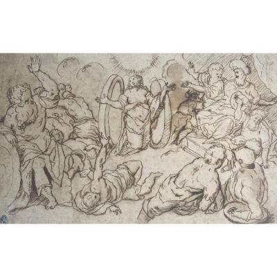 "ECOLE ITALIENNE 17E ""Scène religieuse"" Dessin/Plume, Provenance Ancienne collection Giuseppe VALARDI"
