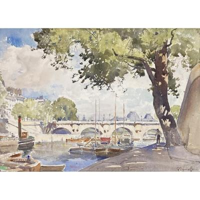 "Vignal Pierre (1855-1925) ""the Quays In Paris"" Watercolor, Signed"