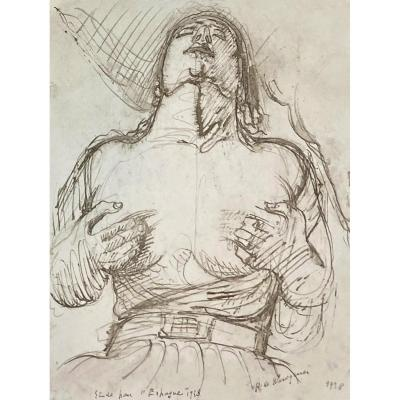 """Waroquier De Henry (1881-1970) """"study For"""" Spain """"1938"""" Drawing/pen, Signed And Dated"""