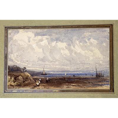 """Heroult Antoine Désiré (1802-1853) """"seascape"""" Watercolor, Signed"""