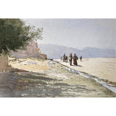 "Mouren Henri (1844-1925) ""animated Landscape"" Watercolor, Signed"