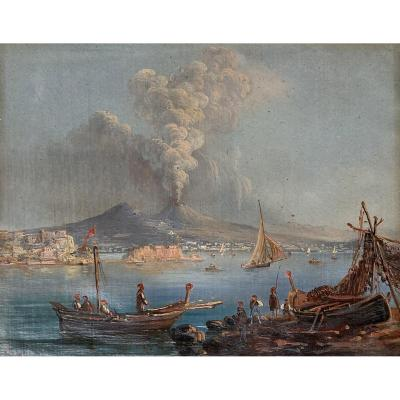 "Italian School Mid 19th ""view Of Vesuvius In Eruption"" Oil On Paper"