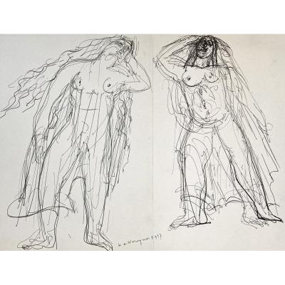 """Waroquier De Henry (1881-1970) """"naked Women"""" Drawing/pen, Signed And Dated"""