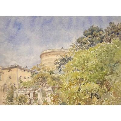 """Zuber Anna Elise (1872-1932) """"view Of The Castle Of Nice"""" Watercolor"""
