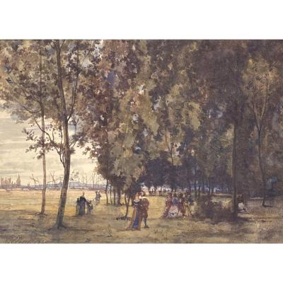 """Clery Edouard (19th Century) """"animated Landscape And Boats"""" Watercolor, Signed And Dated"""