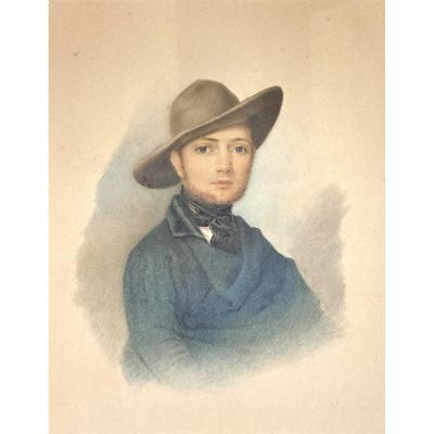 """French School Circa 1840 """"man With A Hat"""" Watercolor"""
