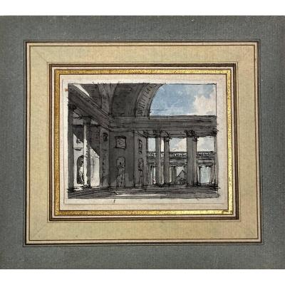 """Nicolle Victor-jean (1754-1826) """"interior Of A Palace"""" Drawing/pen And Watercolor"""