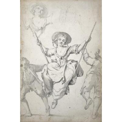"""French School 18th Century """"woman On The Swing"""" Drawing/black Chalk And Gray Wash"""