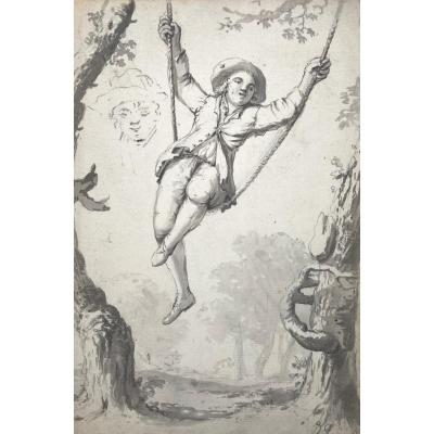 """French School 18th Century """"man On The Swing"""" Drawing/black Chalk And Gray Wash"""