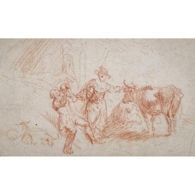 """French School 18th Century """"characters And Cow"""" Drawing In Red Chalk"""
