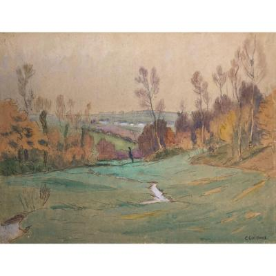 """Guilloux Charles (1866-1946) """"landscape"""" Drawing/black Pencil And Watercolor"""