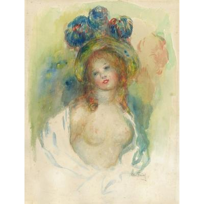"""Faivre Abel (1867-1945) """"the Bare Breasted Model"""" Watercolor, Signed"""